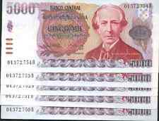 ARGENTINA LOT 5x 5000 PESOS 1984 aUNC