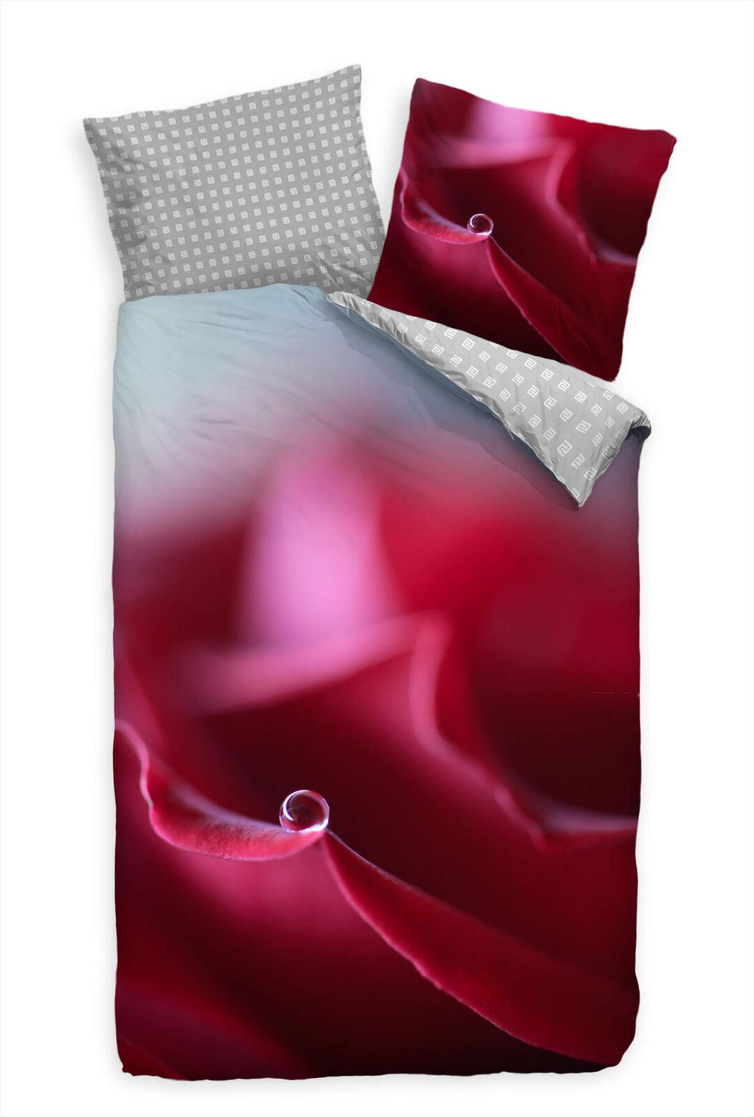 Blte Makro Abstrakt Rot Bettwäsche Set 135x200 cm + 80x80cm  Atmungsaktiv