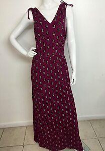 Women-039-s-New-Lucky-Brand-Size-M-Raspberry-Geo-V-Neck-Sleeveless-Printed-Dress-NWT