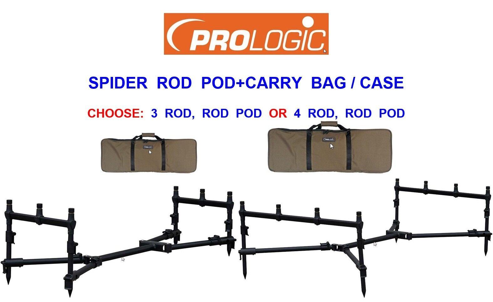 PROLOGIC SPIDER ROD POD+CASE BAG FOR CARP FISHING 3 4 GOAL POST BITE ALARM SET