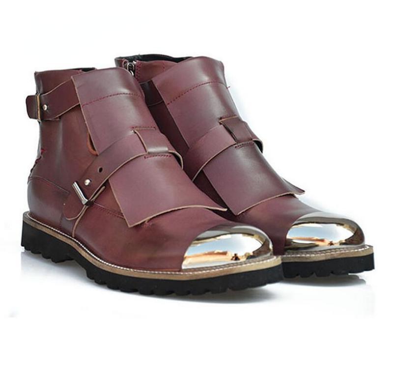 Cool Hebilla Para Hombre De Cuero Zapatos de rock metal del dedo del pie botas al Tobillo formal vestido de montar a caballo