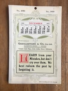 ANTIQUE-DECEMBER-1915-CALENDAR-OSBOLDSTONE-amp-CO-MELBOURNE-PRINTER-ART-NOUVEAU