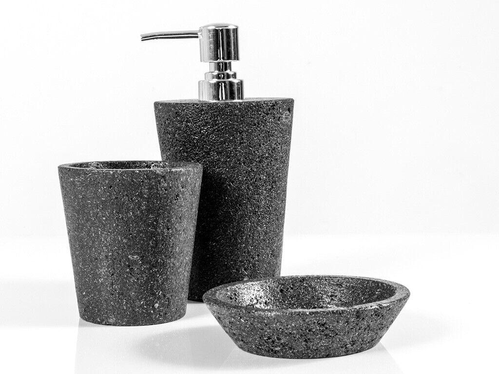 CIPI Set LAVA da appoggio 3 pezzi in pietra lavica impermeabilizzata e metallo