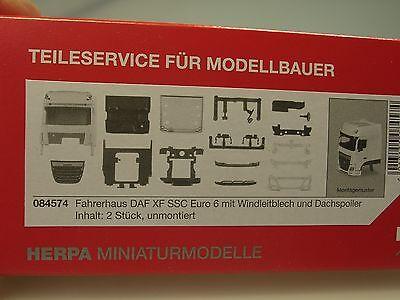 """Herpa  DAF XF SC Euro 6 Fahrerhaus mit Windleitblech und Dachspoiler /""""weiß/"""" Neu"""