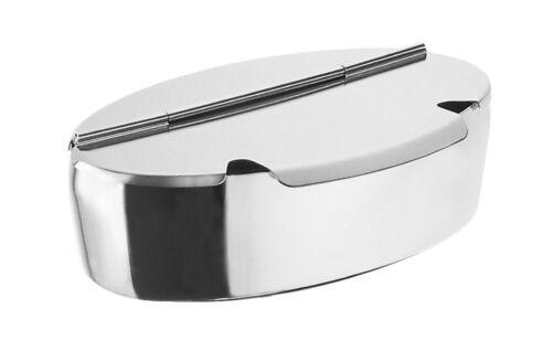 Motta Zuckerdose oval aus Edelstahl mit zwei Löffelausparungen