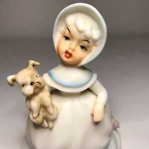 RARE Vintage NORCREST Girl with Puppy Figurine Bisque Japan F-732 Gorgeous!