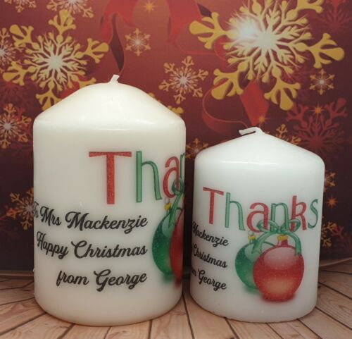 Personalised Christmas Teacher Teacher/'s Assistant Mum Friend Thank you Candle