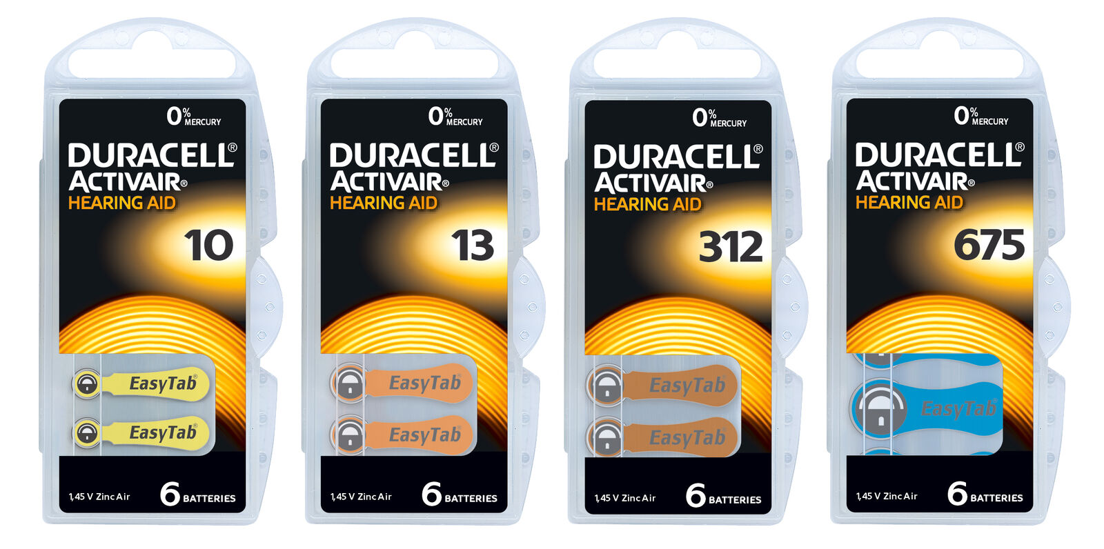 Duracell Hörgerätebatterien Typ  p10, p13, p312, p675