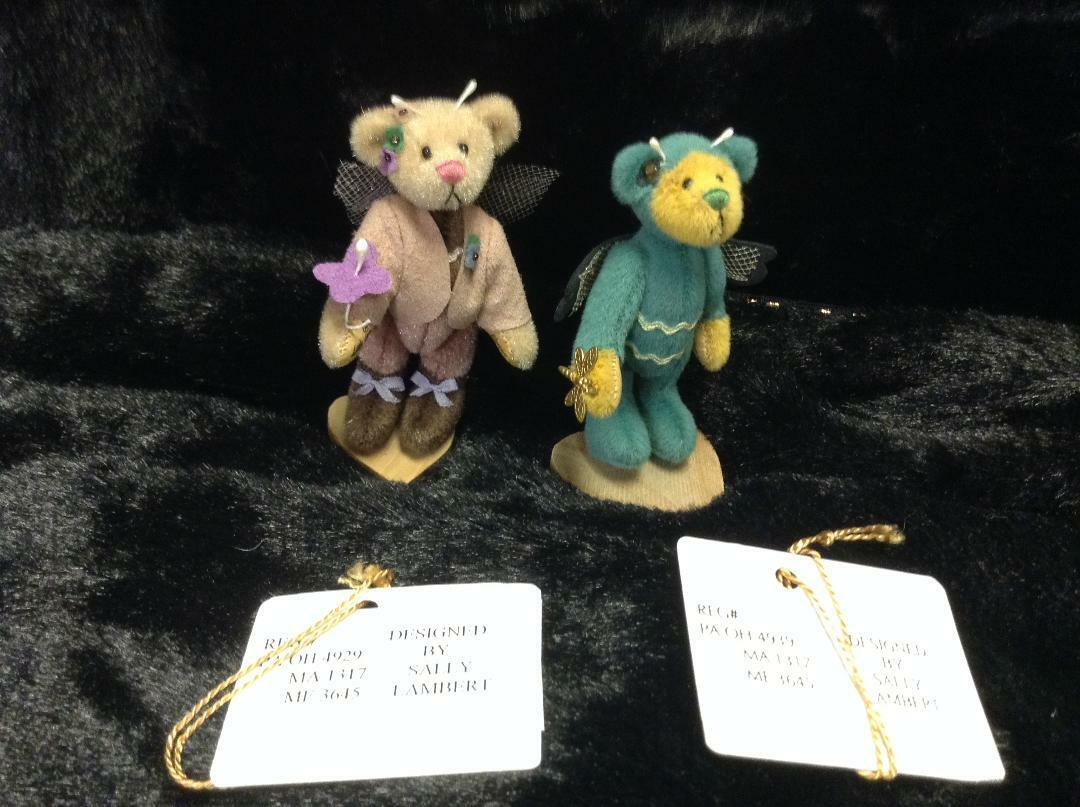 Little Gem Teddy Bears  Blossom  &  Dragonfly  by Sally Lambert
