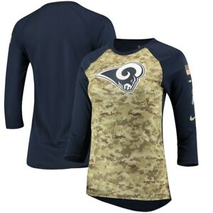 fcdd82ad Details about NIKE LOS ANGELES RAMS NFL WOMENS SALUTE TO SERVICE CAMO  RAGLAN SHIRT LARGE