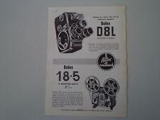 advertising Pubblicità 1961 BOLEX PAILLARD 18-5/CINEPRESA D8L