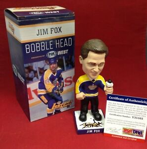 Jim Fox Signed Los Angeles Kings Hockey Bobble Head *Legends Night PSA Y35103