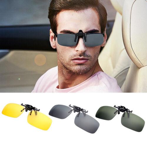 UV400 Sunglasses Clip On Flip-up Driving Glasses Night Vision Lens UK