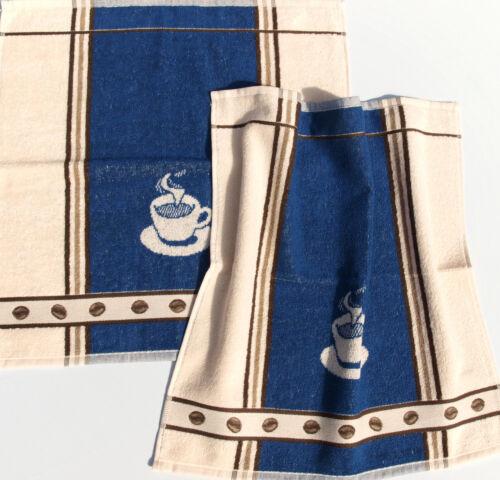 2x Serviettes Café éponge Espresso Bâton qui cuisine foulards Frottier Beige Bleu