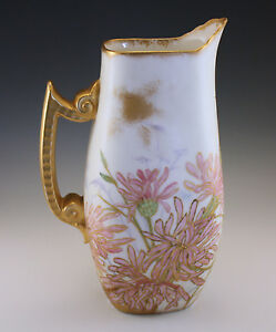 VICTORIAN-1891-T-amp-V-LIMOGES-PITCHER-HAND-PAINTED-DATED-AND-SIGNED-BY-THE-ARTIST