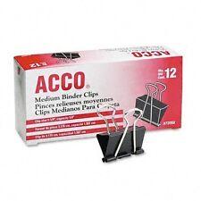 Acco Medium Binder Clips Steel Wire Blacksilver Dozen Acc72050