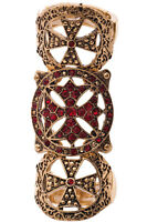 Cross Ring Antique Gold & Red Rhinestone Encrusted Women Jewelry Gothic