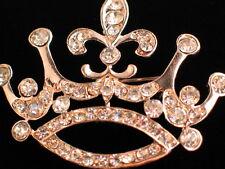 "GOLD RHINESTONE PRINCESS CROWN BEAUTY PAGEANT CONTEST TIARA PIN BROOCH 1 3/4"""