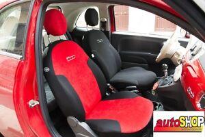 Dettagli Su Fodere Coprisedili Set Completo Fiat 500 Posteriore Diviso Rosso E Nero