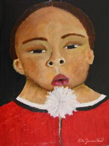 Original Oil Portrait Boy & Dandelion Painting Katie Jeanne Wood