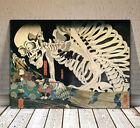 "Traditional Japanese Kabuki Art ~ CANVAS PRINT 16x12"" ~ Kuniyoshi Skeleton"