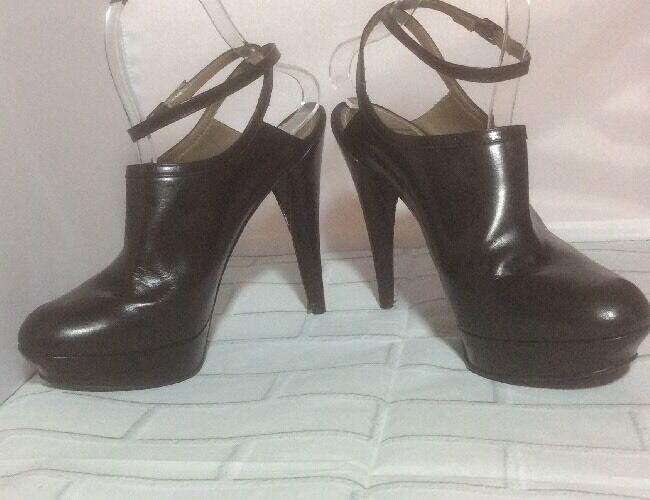 Lanvin Hiver 2010 Dark Brown Italian Leather Ankle Strap Mule Sz 39 EUC Fit 7.5