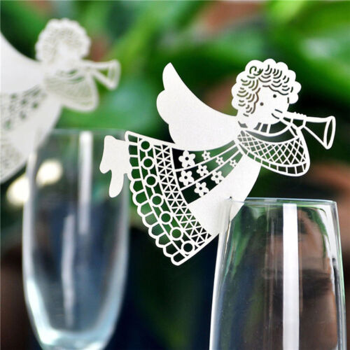 Chic 50Pcs Name Place Cards For Wedding Party Table Wine Glass Decoration DSUK