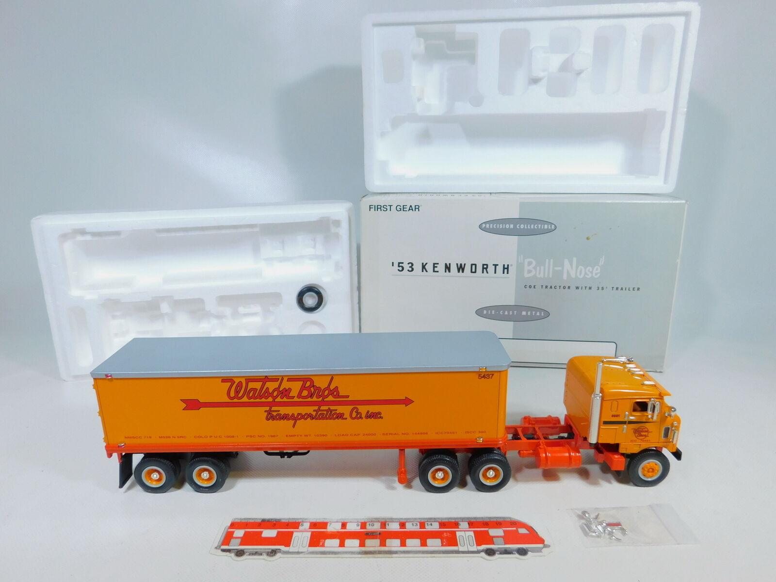 Ca62-3  First Gear 1 34 19-1731 camions'53  KENWORTH Bull Nose Watson Bros, Neuw + neuf dans sa boîte  Commandez maintenant