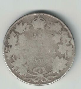 CANADA-1904-50-CENTS-HALF-DOLLAR-KING-EDWARD-VII-STERLING-SILVER-CANADIAN-COIN