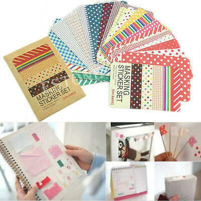 Masking Tape Stickers Decorative Set Labelling Scrapbook Basic Pastel DIY Craft