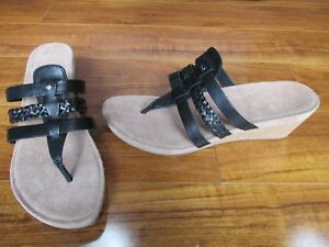 857be873fab Details about NEW UGG Maddie Cork Wedge Thong Sandals WOMENS Sz 10 Black  1006764 $110.00