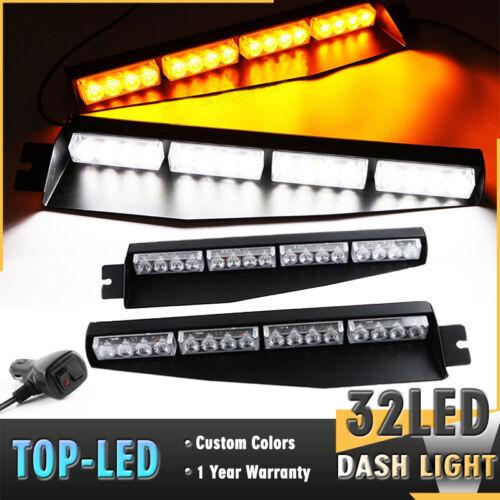 "34/"" 32LED White Amber Y Emergency Warn Traffic Visor Dash Flash Strobe Light Bar"