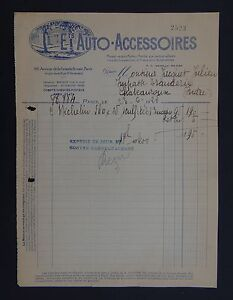 Facture-ETS-AUTO-ACCESSOIRE-PARIS-1921-PAris-bill-Rechnung-fattura