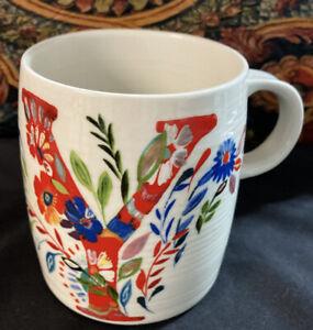 "Starla M. Halfmann Anthropologie Letter Initial Monogram ""Y"" Mug Cup."