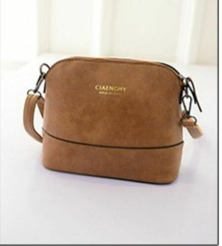 Women Vintage Handbag Crossbody Bag Ladies Nubuck Leather Mini Bag Shell brown
