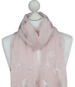 Pink-Dandelion-Print-Scarf-Silver-Metallic-Dandelions-Mother-Friend-Spring-Wrap