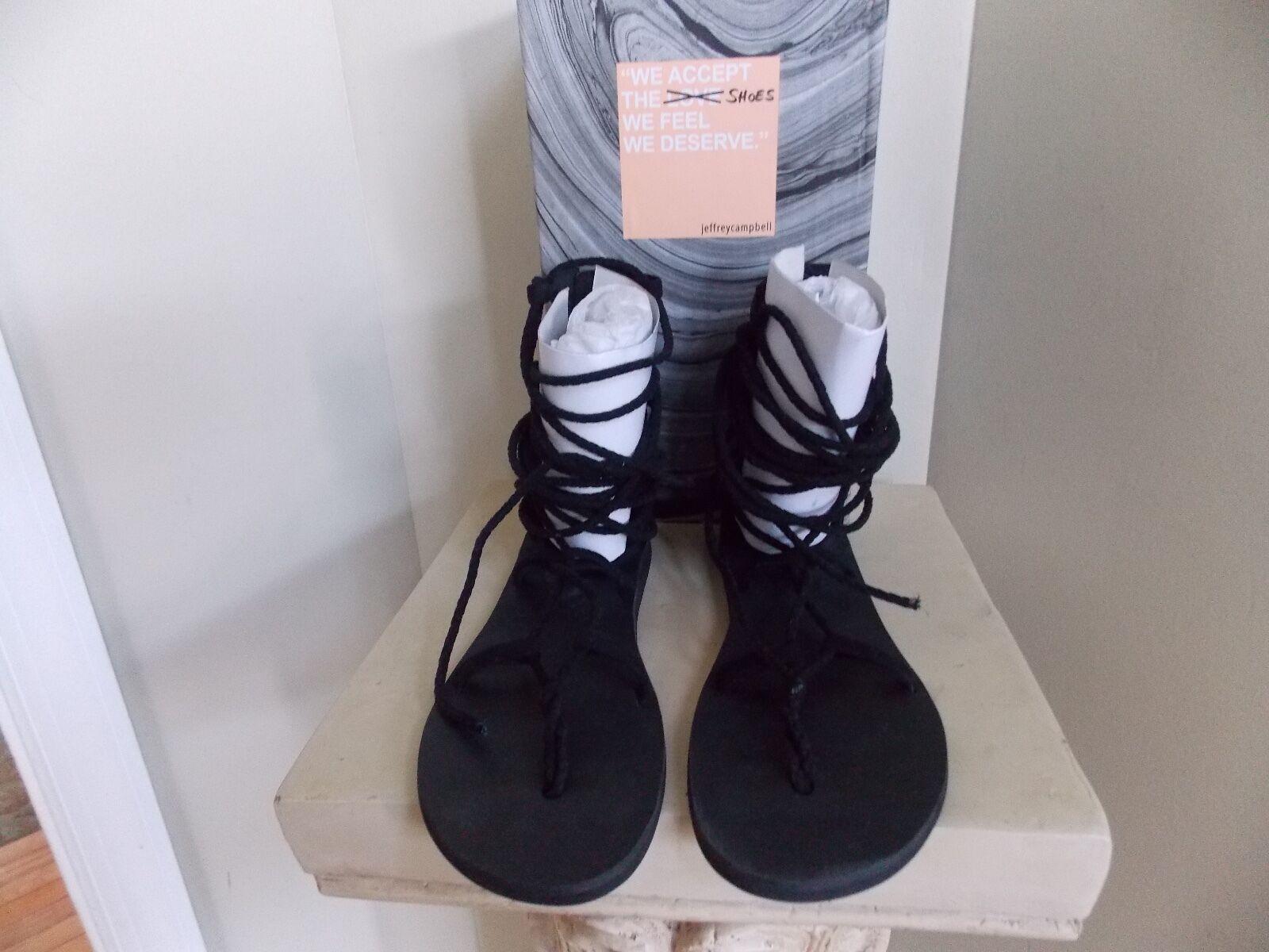 Women's Black Jeffrey Campbell Hola-2 Lace Up  Zipper Back Sandal Size 9.5
