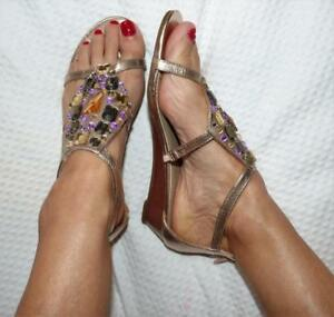 e71ccd860d2010 Details about ROSE GOLD JEWEL embellished SANDALS 8 boho glam festival flat  heel shoe NEW
