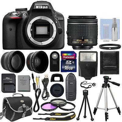Nikon D3300 Digital SLR Camera Black + 3 Lens: 18-55mm Lens + 16GB Bundle
