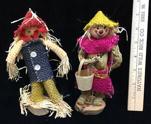 Scarecrow Figurines Handmade Crafted Wood Straw 7 Set 2 Autumn