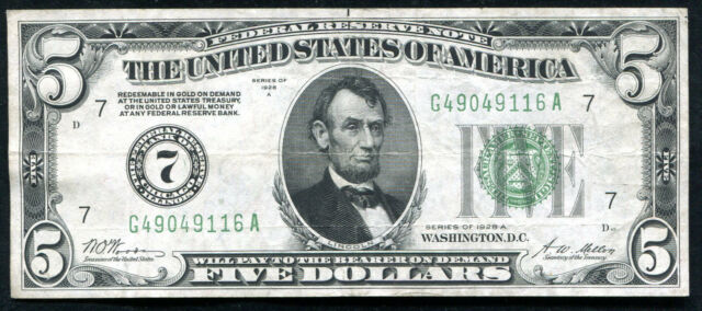 FR. 1951-G 1928-A $5 FRN FEDERAL RESERVE NOTE CHICAGO, IL EXTREMELY FINE