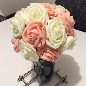 50pcs-fleur-artificielle-Faux-Rose-Mousse-tige-mariee-Bouquet-maison-mariage-PB