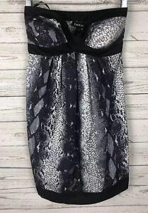 4bdabab01ce Details about Bebe XS Animal Print 100% Silk Knit Strapless Pleated Mini  Dress k5