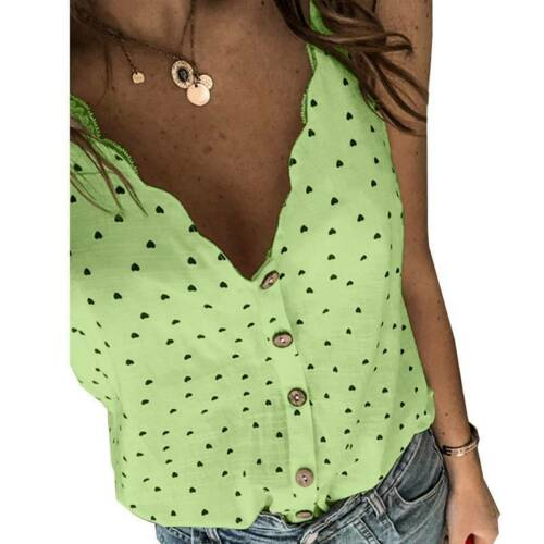Womens Strappy Heart Print V Neck Summer Holiday Buttons Vest Tank Tops Camisole