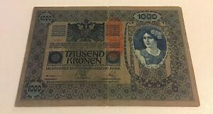 Austria-Banknote-1000-Kronen-Dated-1919-Pick-59-Vintage-Note