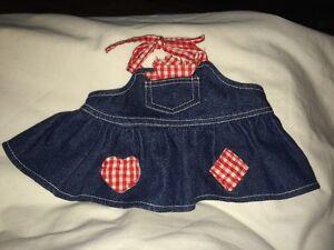 29aef44551e5 Build a Bear Jean Dress/Apron with Red/White Gingham Print Trim | eBay