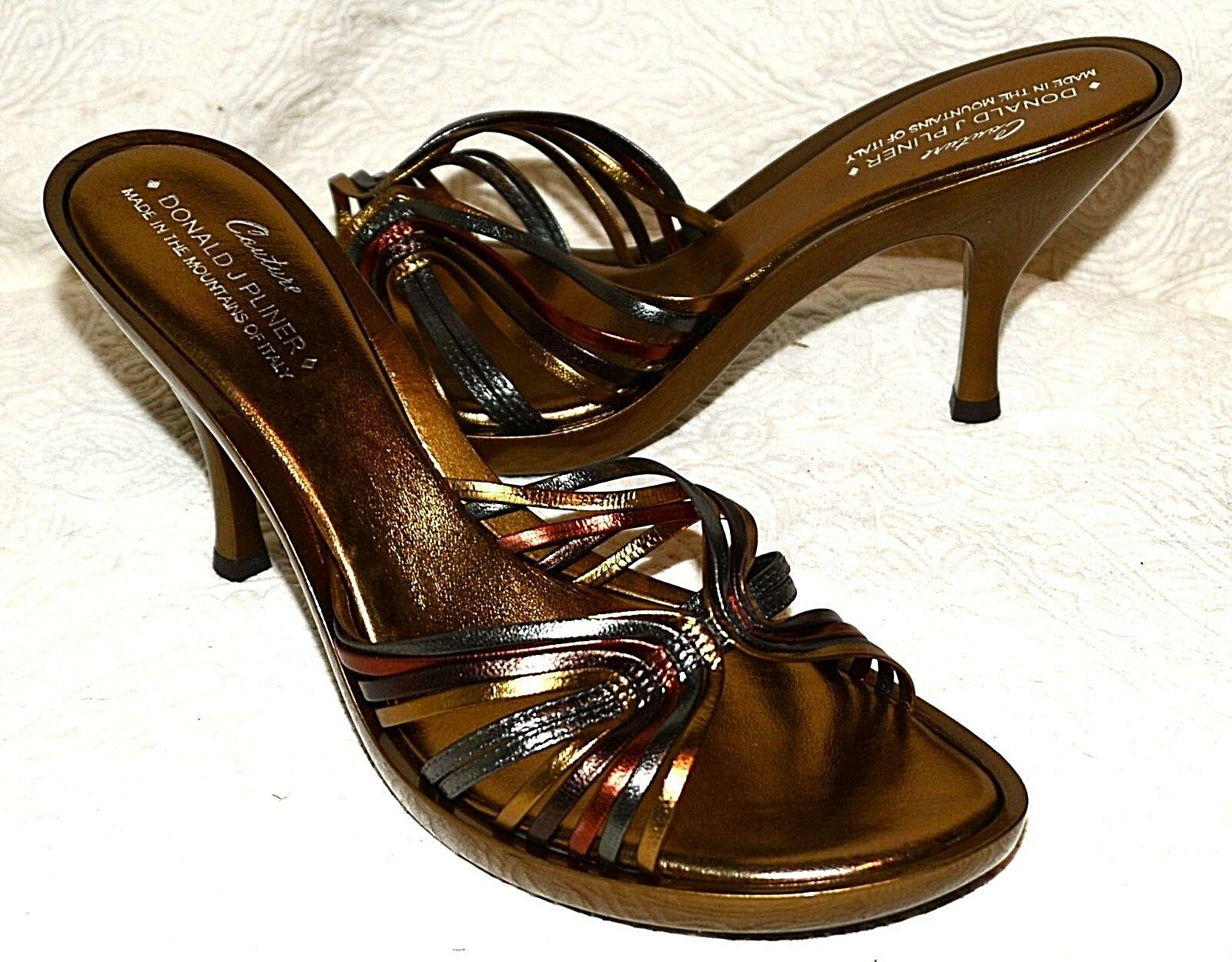 New Donald J Pliner Pliner Pliner Couture Bronze metallic leather Sandals schuhe heels 9N Odino 31207f