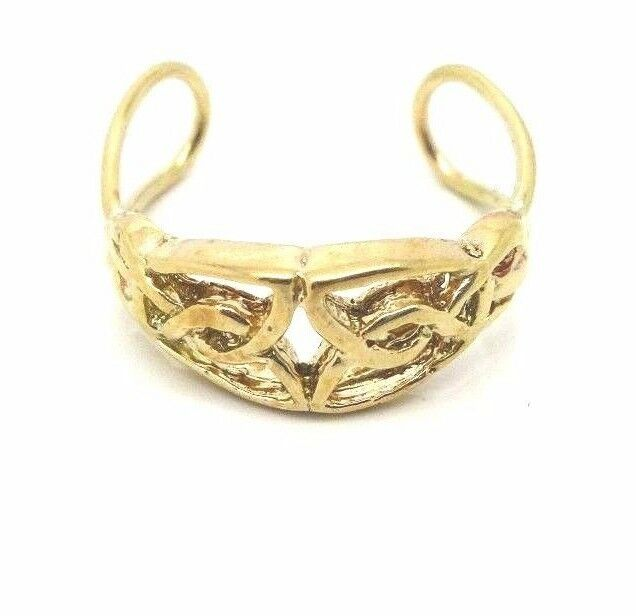 9ct gold Hallmarked Adjustable Celtic Pattern Cutout Toe Ring