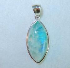 Rainbow Moonstone Green Marquise Pendant with Border 925 Sterling Silver