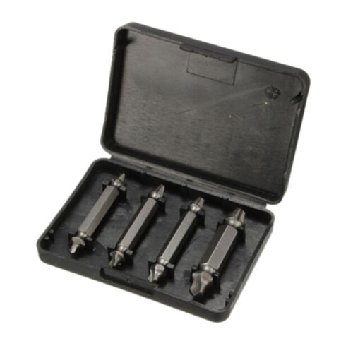 4 in 1 Box Screw Extractor Set Drill Bits Damaged Stripped Bolt Remover TooBLIS